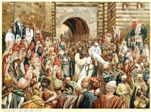 Jesus raising the widow's son at Nain. Artist: James Tissot